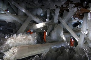 The massive gypsum crystals found in Mexico's Naica mine are spectacular to behold. The meter-thick beams of translucent crystal stretch across a life-threateningly hot and humid chamber deep within a Mexican mountain.